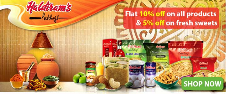 FLAT 10% OFF ON HALDIRAMS